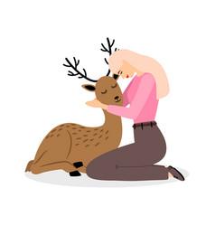 girl with deer animal cartoon pretty woman vector image