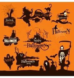 Halloween party decoration emblems vector
