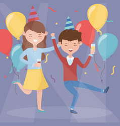 happy couple drinking and dancing celebration vector image