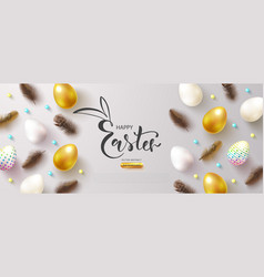 happy easter banner with decorated eggs and vector image