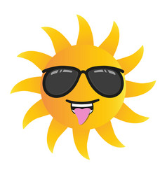 happy funny cartoon sun smiling with sunglasses vector image vector image