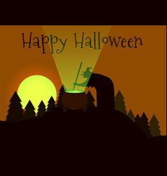 Happy halloween the witch is brewing a potion vector