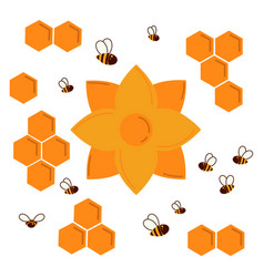 Icon nectar honey flower honeycomb and bees vector