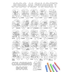 Jobs alphabet coloring book vector