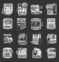 justice court police and detective icons vector image