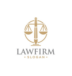 Law firm with sword logo vector