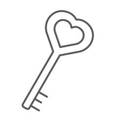 Love key thin line icon love and lock heart key vector