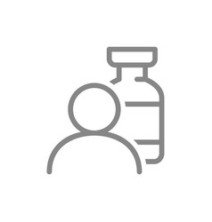 Medical ampoule and user line icon injection vector
