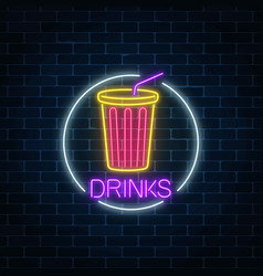 Neon glowing sign of cold soda drink in circle vector