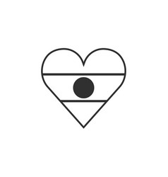 Niger flag icon in a heart shape in black outline vector