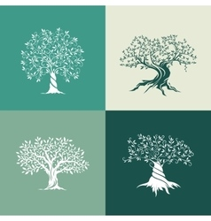 Olive trees silhouette icon set isolated on green vector image