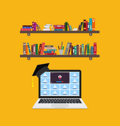 online education on laptop learning class in vector image