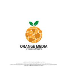 Orange media logo fruits logo design vector