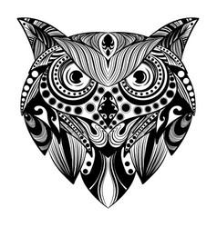 owl doddle art with bullets ornament vector image