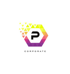 p colorful hexagon shaped letter logo design vector image