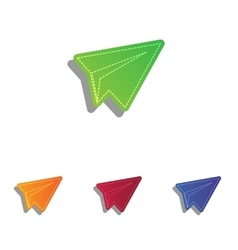 Paper airplane sign colorful applique icons set vector