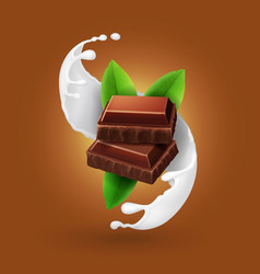 piece of chocolate in milk splash vector image