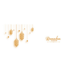 Ramadan banner with decorative islamic lanterns vector