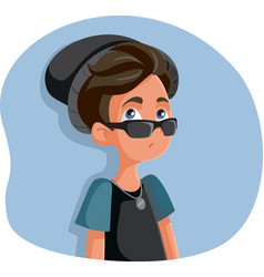 rebellious teenage boy acting cool vector image