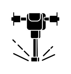 Road works perforator black glyph icon vector