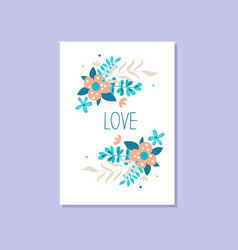 romantic greeting card with the inscription love vector image