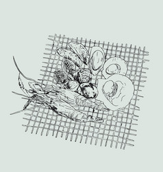 Seafood set hand drawn grill sea vector