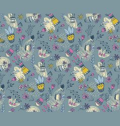 Seamless pattern with hand drawn floral nature vector