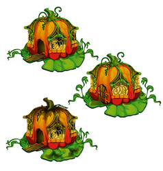 set of fairy tale houses made out of pumpkins vector image