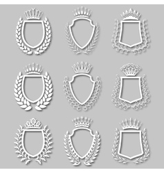Set of laurel wreaths shields vector