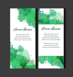 set of templates of vertical blanks with green vector image