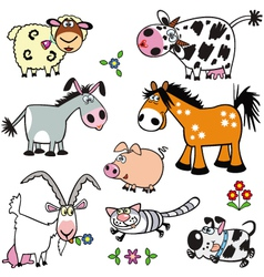 Set with cartoon farm animals vector