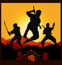 silhouettes of ninja warriors against a landscape vector image