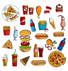 Sketches of fast food and desserts vector image