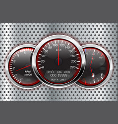 Speedometer tachometer fuel and temperature vector