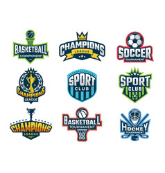 sport logos emblem college team cup vector image