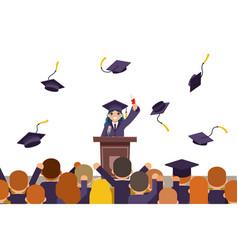 Students celebrate rejoice flying graduation hats vector
