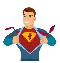 superhero tearing shirt and wearing costume vector image
