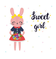 Sweet girl cute little bunny with flowers vector