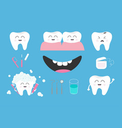 tooth health icon set toothpaste toothbrush vector image