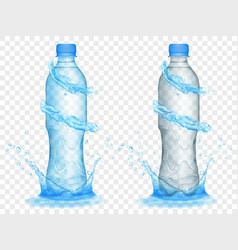 transparent plastic bottles with water crowns and vector image