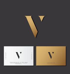 V letter optical gold monogram vector