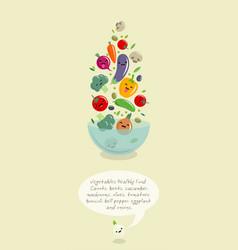 vegetables kawaii japanese style vector image