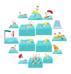 water sport cartoon icons vector image