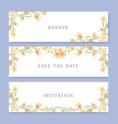 watercolor flowers with text banner lush flowers vector image