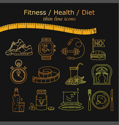 Weight loss diet icons set vector