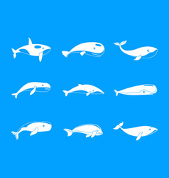 Whale blue tale fish icons set simple style vector