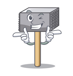 Wink hammer cartoon for tenderizer the meat vector