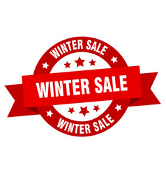 winter sale ribbon winter sale round red sign vector image