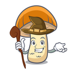 Witch orange cap boletus mushroom mascot cartoon vector