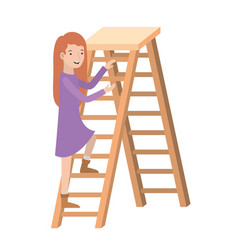 woman with wooden stair avatar character vector image